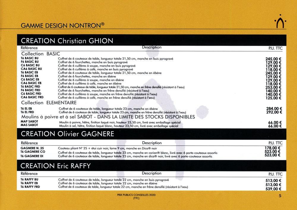 Catalogue général et tarifs publics des couteaux de Nontron 2020  Gamme Design Nontron (2/2)  Créations Christian GHION - Créations Olivier GAGNERE - Créations Eric RAFFY